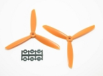 HQ Tri-Blade Props, 6X4.5, ORANGE (1CW, 1CCW)